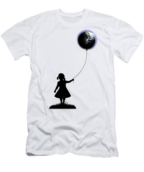 The Girl That Holds The World - White  Men's T-Shirt (Slim Fit) by Nicklas Gustafsson