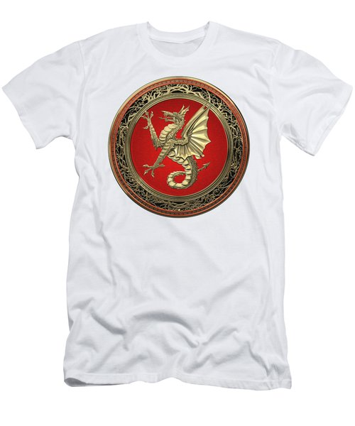 The Great Dragon Spirits - Gold Sea Dragon Over White Leather Men's T-Shirt (Athletic Fit)