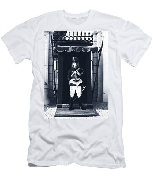 Men's T-Shirt (Athletic Fit) featuring the photograph The Guard At The Palace by Lorraine Devon Wilke