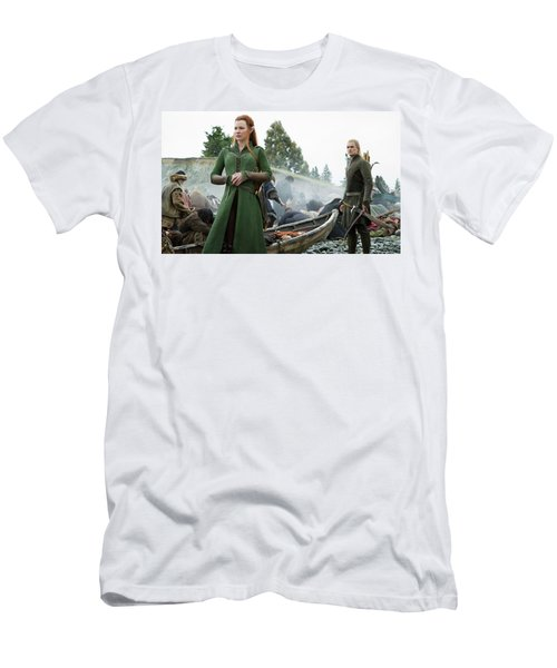 The Hobbit The Battle Of The Five Armies Evangeline Lilly Orlando Bloom Men's T-Shirt (Athletic Fit)