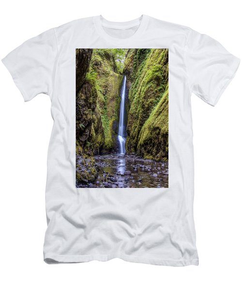 The Lush And Green Lower Oneonta Falls Men's T-Shirt (Slim Fit) by Pierre Leclerc Photography