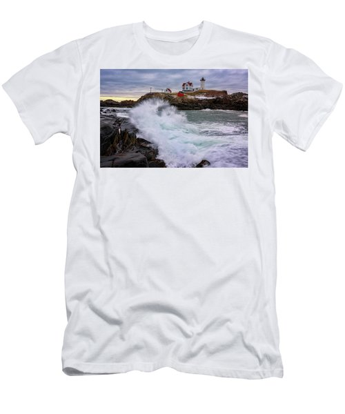 Men's T-Shirt (Slim Fit) featuring the photograph The Nubble After A Storm by Rick Berk