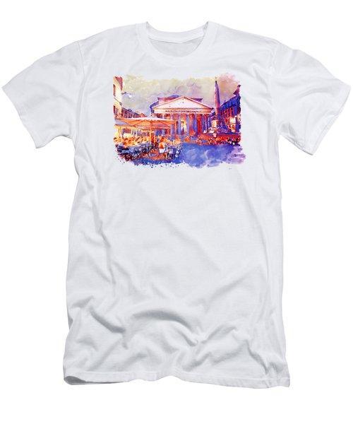 The Pantheon Rome Watercolor Streetscape Men's T-Shirt (Slim Fit) by Marian Voicu