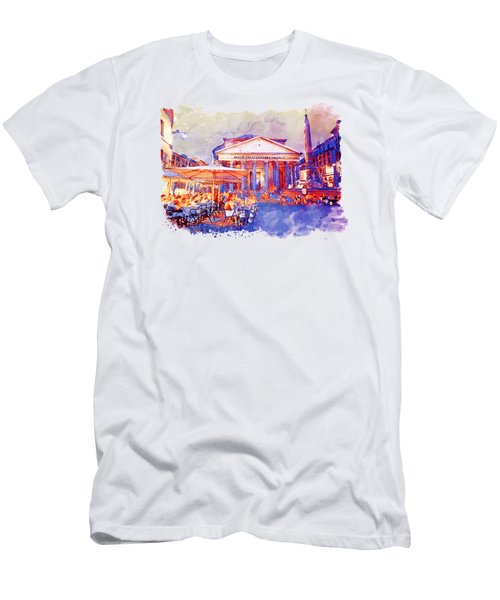 The Pantheon Rome Watercolor Streetscape Men's T-Shirt (Athletic Fit)