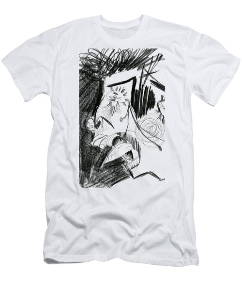 Men's T-Shirt (Slim Fit) featuring the drawing The Scream - Picasso Study by Michelle Calkins