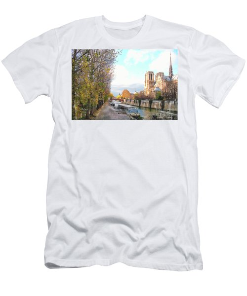 The Seine And Quay Beside Notre Dame, Autumn Men's T-Shirt (Athletic Fit)