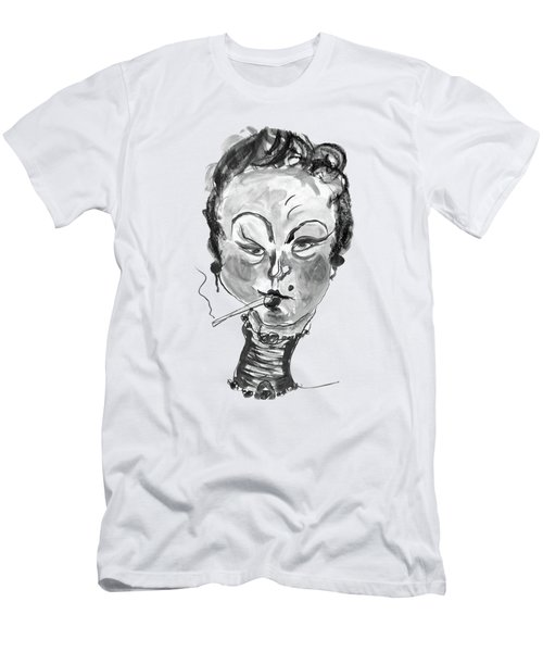 The Smoker - Black And White Men's T-Shirt (Slim Fit) by Marian Voicu