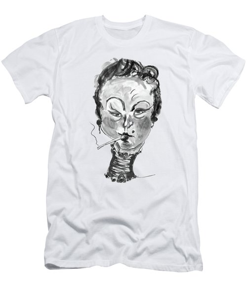 The Smoker - Black And White Men's T-Shirt (Athletic Fit)