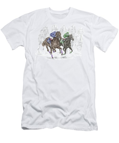 The Thunder Of Hooves - Horse Racing Print Color Men's T-Shirt (Slim Fit) by Kelli Swan