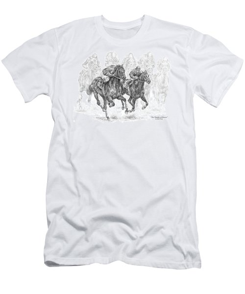 The Thunder Of Hooves - Horse Racing Print Men's T-Shirt (Slim Fit) by Kelli Swan