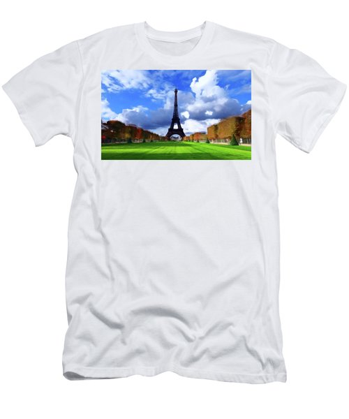 Men's T-Shirt (Slim Fit) featuring the painting The Tower Paris by David Dehner