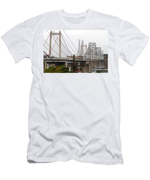The Two Carquinez Bridges At Crockett And Vallejo California . Aka Alfred Zampa Memorial Bridge . 7d8919 Men's T-Shirt (Athletic Fit)
