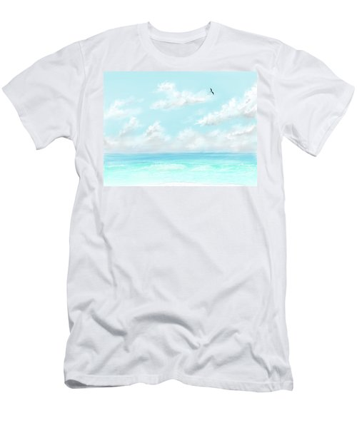Men's T-Shirt (Athletic Fit) featuring the digital art The Waves And Bird by Darren Cannell