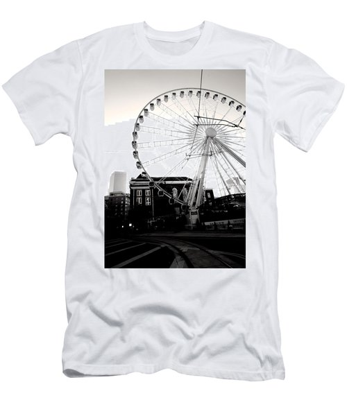 The Wheel Black And White Men's T-Shirt (Athletic Fit)