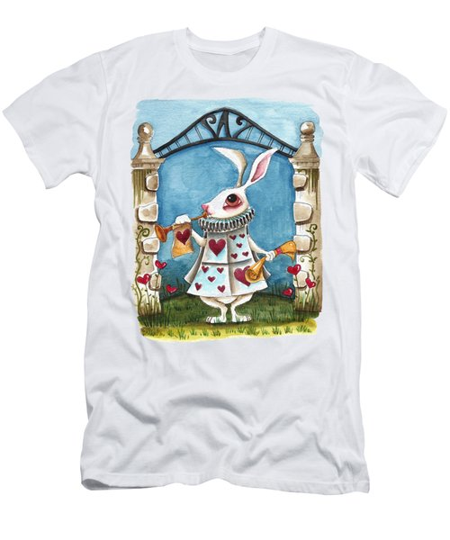 The White Rabbit Announcing Men's T-Shirt (Slim Fit) by Lucia Stewart