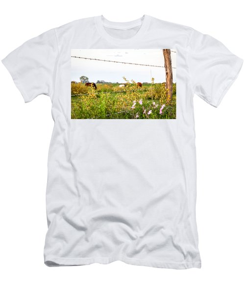 Men's T-Shirt (Athletic Fit) featuring the photograph The Wrong Side Of The Fence by Melinda Ledsome