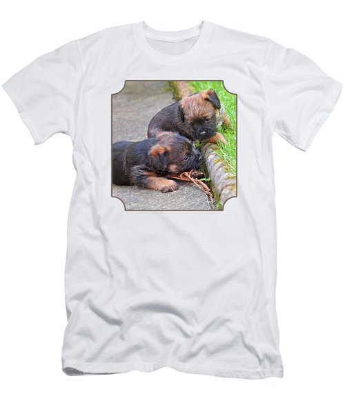 They Can Still See You - Border Terrier Puppies Men's T-Shirt (Athletic Fit)