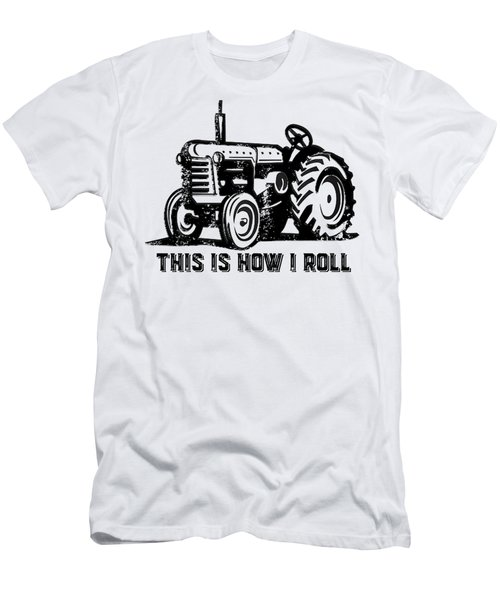 Men's T-Shirt (Slim Fit) featuring the drawing This Is How I Roll Tractor by Edward Fielding