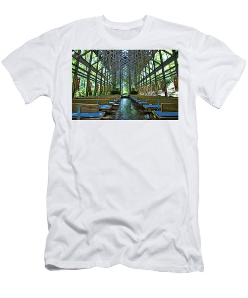 Men's T-Shirt (Slim Fit) featuring the photograph Thorncrown Chapel Interior by Cricket Hackmann
