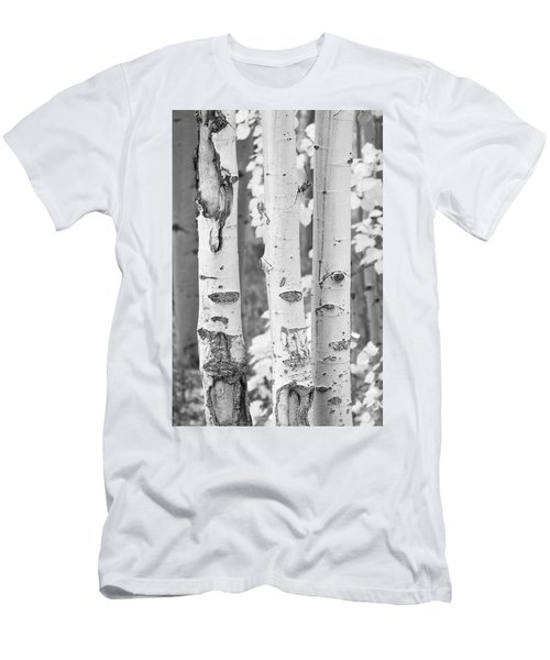 Three Aspens In Black And White  Men's T-Shirt (Athletic Fit)