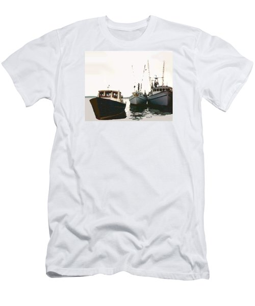 Three Boats Men's T-Shirt (Slim Fit) by Walter Chamberlain