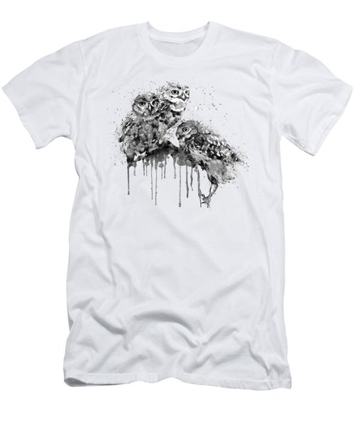 Three Cute Owls Black And White Men's T-Shirt (Athletic Fit)