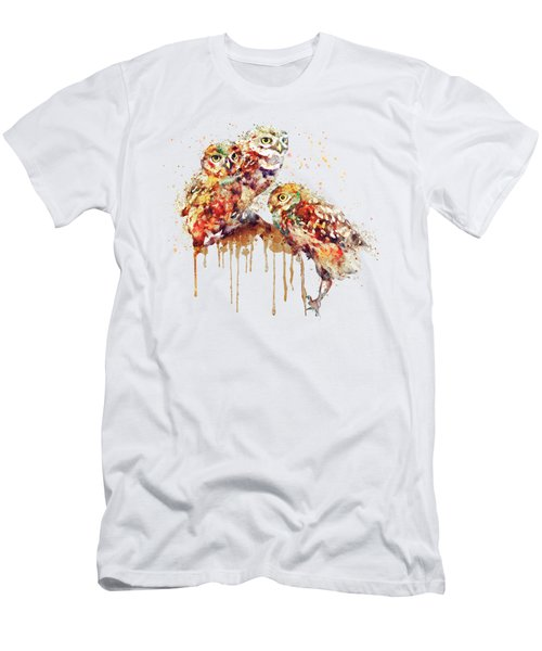 Three Cute Owls Watercolor Men's T-Shirt (Athletic Fit)