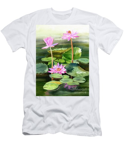 Three Pink Water Lilies With Pads Men's T-Shirt (Athletic Fit)