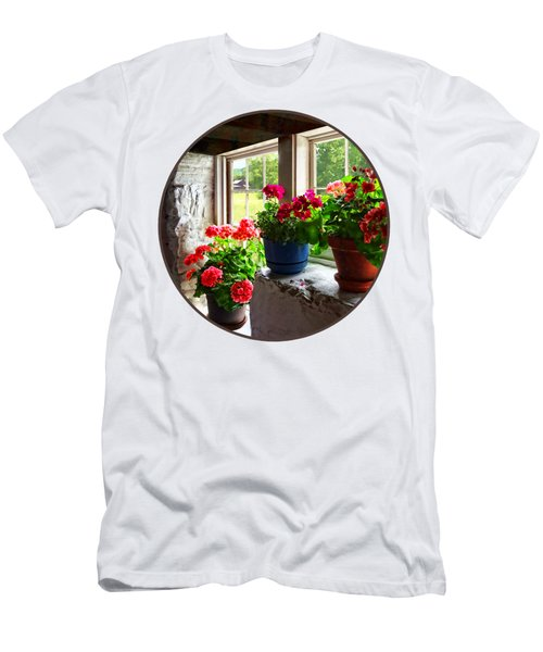 Three Pots Of Geraniums On Windowsill Men's T-Shirt (Slim Fit)