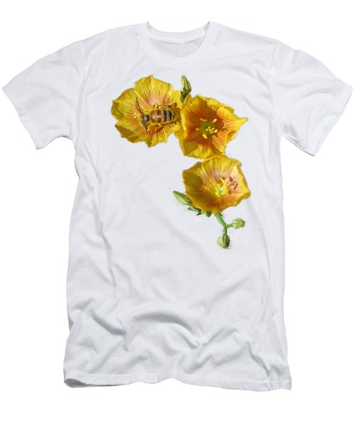 Men's T-Shirt (Slim Fit) featuring the photograph Three Yellow Flowers With A Bee by Linda Phelps