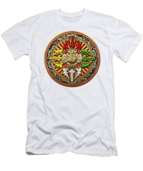 Tibetan Double Dorje Mandala - Double Vajra On White Leather Men's T-Shirt (Athletic Fit)