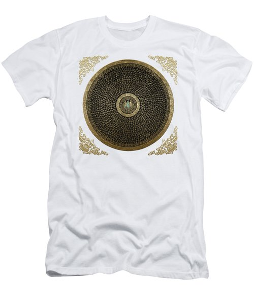 Tibetan Thangka - Green Tara Goddess Mandala With Mantra In Gold On White Men's T-Shirt (Athletic Fit)