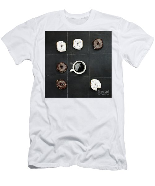 Men's T-Shirt (Slim Fit) featuring the photograph Tic Tac Toe Donuts And Coffee by Stephanie Frey