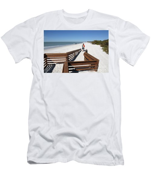 Tide Of Sand Over A Ramp On The Beach In Naples Florida Men's T-Shirt (Athletic Fit)