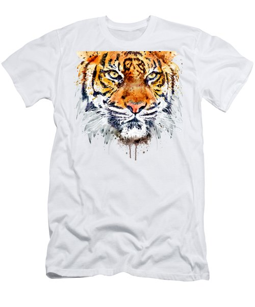 Men's T-Shirt (Slim Fit) featuring the mixed media Tiger Face Close-up by Marian Voicu