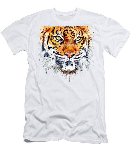 Tiger Face Close-up Men's T-Shirt (Athletic Fit)