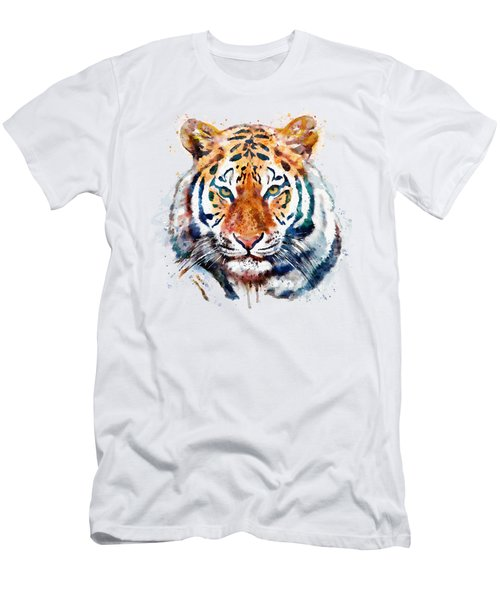 Tiger Head Watercolor Men's T-Shirt (Slim Fit) by Marian Voicu