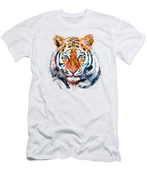 Tiger Head Watercolor Men's T-Shirt (Athletic Fit)