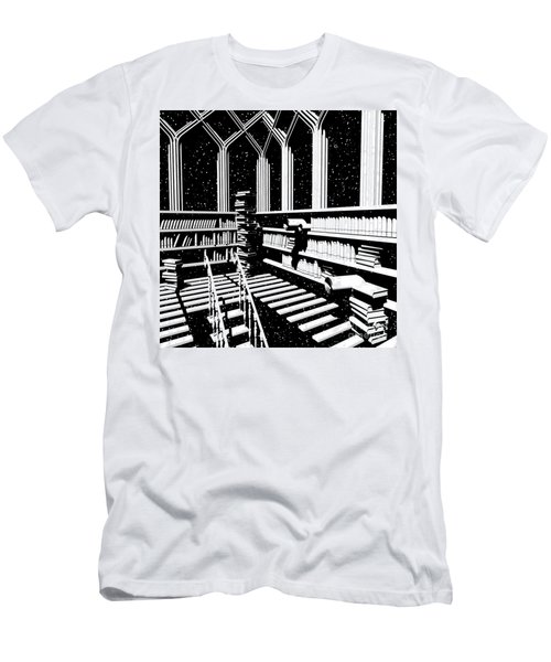 Men's T-Shirt (Athletic Fit) featuring the digital art Time Aerials Mind Library by Russell Kightley