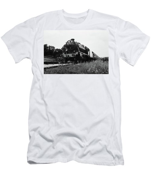 Time Travel By Steam B/w Men's T-Shirt (Slim Fit) by Martin Howard