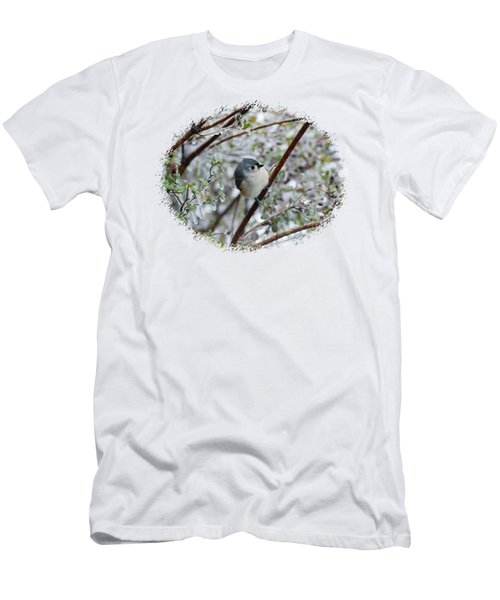 Titmouse On Snowy Branch Men's T-Shirt (Athletic Fit)