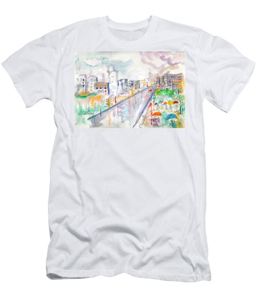 Men's T-Shirt (Slim Fit) featuring the painting To The Wet City by Mary Armstrong