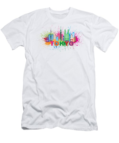 Tokyo City Skyline Paint Splatter Illustration Men's T-Shirt (Athletic Fit)