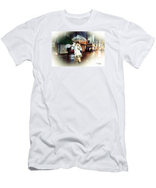 Men's T-Shirt (Slim Fit) featuring the painting Rainytokyo Night by Chris Armytage