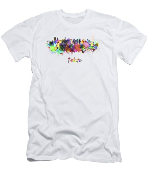 Tokyo V2 Skyline In Watercolor Men's T-Shirt (Slim Fit) by Pablo Romero