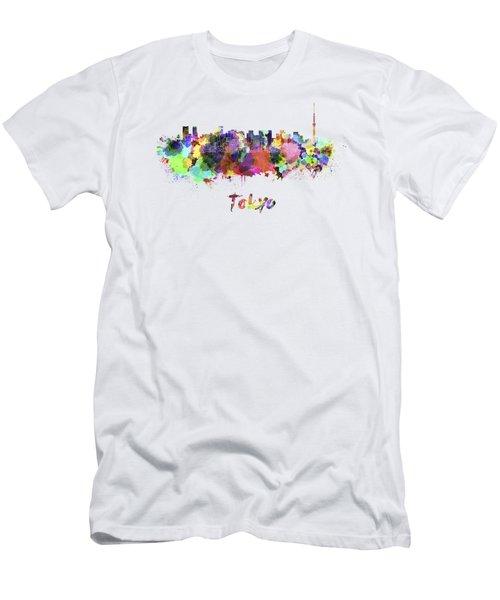 Tokyo V2 Skyline In Watercolor Men's T-Shirt (Slim Fit) by Pablo Romero