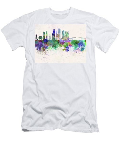 Tokyo V3 Skyline In Watercolor Background Men's T-Shirt (Slim Fit) by Pablo Romero