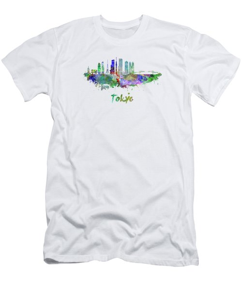 Tokyo V3 Skyline In Watercolor Men's T-Shirt (Athletic Fit)