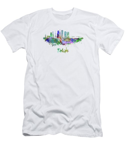 Tokyo V3 Skyline In Watercolor Men's T-Shirt (Athletic Fit)