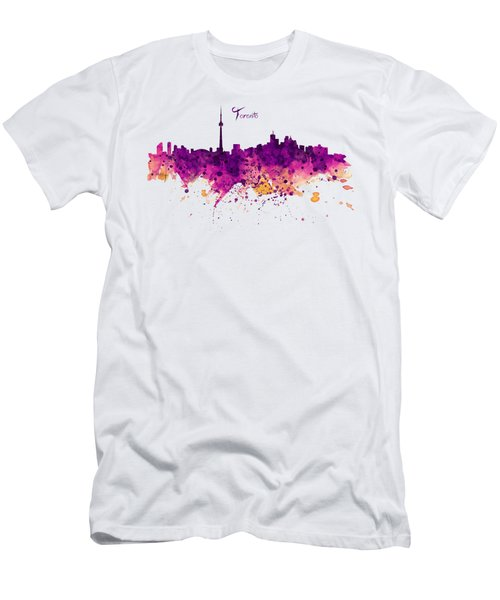 Toronto Watercolor Skyline Men's T-Shirt (Athletic Fit)